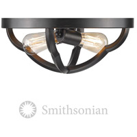Smithsonian Saxon 2 Light 14 inch Aged Bronze Flush Mount Ceiling Light