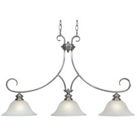 Lancaster 3 Light 36 inch Pewter Linear Pendant Ceiling Light in Marbled Glass