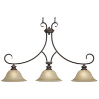 Lancaster 3 Light 36 inch Rubbed Bronze Linear Pendant Ceiling Light in Antique Marbled Glass