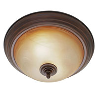 Golden Lighting Lancaster 2 Light Flush Mount in Rubbed Bronze with Antique Marbled Glass 6005-13-RBZ