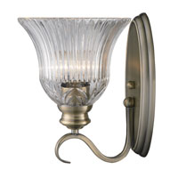 Golden Lighting Lancaster 1 Light Wall Sconce in Antique Brass with Clarion Glass 6005-1W-AB photo thumbnail