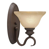 Golden Lighting Lancaster 1 Light Wall Sconce in Rubbed Bronze with Antique Marbled Glass 6005-1W-RBZ