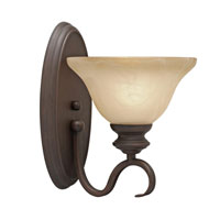 Golden Lighting 6005-1W-RBZ Lancaster 1 Light 8 inch Rubbed Bronze Wall Sconce Wall Light in Antique Marbled Glass photo thumbnail