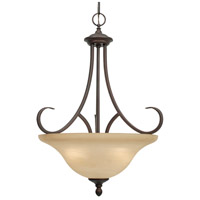 Lancaster 3 Light 17 inch Rubbed Bronze Pendant Ceiling Light in Antique Marbled Glass, Bowl