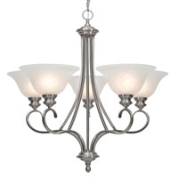 Golden Lighting Lancaster 5 Light Chandelier in Pewter with Marbled Glass 6005-5-PW