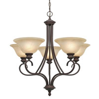 Golden Lighting Lancaster 5 Light Chandelier in Rubbed Bronze with Antique Marbled Glass 6005-5-RBZ