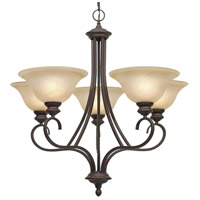 Golden Lighting 6005-5-RBZ Lancaster 5 Light 28 inch Rubbed Bronze Chandelier Ceiling Light in Antique Marbled Glass photo thumbnail
