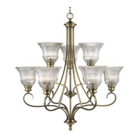 Golden Lighting Lancaster 9 Light Chandelier in Antique Brass with Clarion Glass 6005-9-AB
