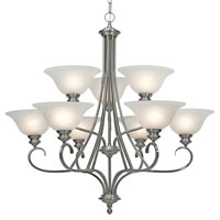 Golden Lighting Lancaster 9 Light Chandelier in Pewter with Marbled Glass 6005-9-PW