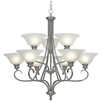 Golden Lighting 6005-9-PW Lancaster 9 Light 36 inch Pewter Chandelier Ceiling Light in Marbled Glass 2 Tier