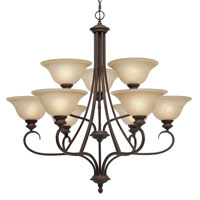 Golden Lighting Lancaster 9 Light Chandelier in Rubbed Bronze with Antique Marbled Glass 6005-9-RBZ