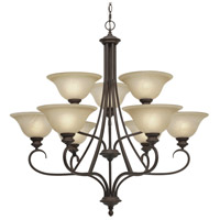 Lancaster 9 Light 36 inch Rubbed Bronze Chandelier Ceiling Light in Antique Marbled Glass, 2 Tier