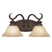 Golden Lighting Lancaster 2 Light Bath Fixture in Rubbed Bronze with Antique Marbled Glass 6005-BA2-RBZ