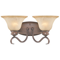 Golden Lighting 6005-BA2-RBZ Lancaster 2 Light 17 inch Rubbed Bronze Bath Vanity Wall Light in Antique Marbled Glass