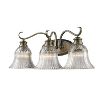 Golden Lighting Lancaster 3 Light Bath Fixture in Antique Brass with Clarion Glass 6005-BA3-AB alternative photo thumbnail