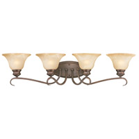 Lancaster 4 Light 34 inch Rubbed Bronze Bath Vanity Wall Light in Antique Marbled Glass