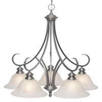 Golden Lighting Lancaster 5 Light Chandelier in Pewter with Marbled Glass 6005-D5-PW