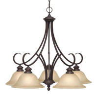 Golden Lighting Lancaster 5 Light Chandelier in Rubbed Bronze with Antique Marbled Glass 6005-D5-RBZ