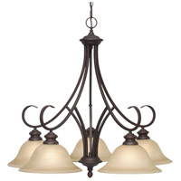 Lancaster 5 Light 28 inch Rubbed Bronze Nook Chandelier Ceiling Light in Antique Marbled Glass
