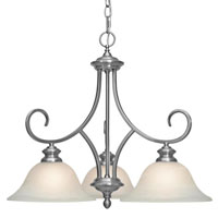 Golden Lighting Lancaster 3 Light Chandelier in Pewter with Marbled Glass 6005-ND3-PW