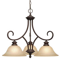 Golden Lighting Lancaster 3 Light Chandelier in Rubbed Bronze with Antique Marbled Glass 6005-ND3-RBZ
