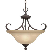 Golden Lighting Lancaster 3 Light Convertible Semi-Flush in Rubbed Bronze with Antique Marbled Glass 6005-SF-RBZ