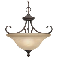Lancaster 3 Light 17 inch Rubbed Bronze Semi-Flush Mount Ceiling Light in Antique Marbled Glass, Convertible