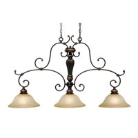 Golden Lighting Jefferson 3 Light Island Light in Etruscan Bronze with Antique Marbled Glass 6029-10-EB