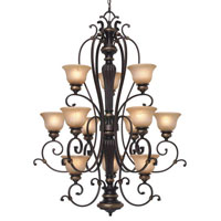 Golden Lighting Jefferson 12 Light Chandelier in Etruscan Bronze with Antique Marbled Glass 6029-363-EB