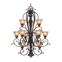 Jefferson 12 Light 37 inch Etruscan Bronze Chandelier Ceiling Light, 3 Tier
