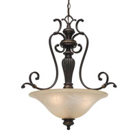 Golden Lighting Jefferson 3 Light Bowl Pendant in Etruscan Bronze with Antique Marbled Glass 6029-3P-EB