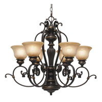 Golden Lighting Jefferson 6 Light Chandelier in Etruscan Bronze with Antique Marbled Glass 6029-6-EB