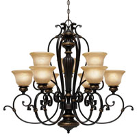 Golden Lighting Jefferson 9 Light Chandelier in Etruscan Bronze with Antique Marbled Glass 6029-9-EB