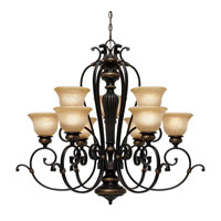 Jefferson 9 Light 37 inch Etruscan Bronze Chandelier Ceiling Light, 2 Tier