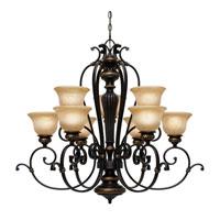 Golden Lighting 6029-9-EB Jefferson 9 Light 37 inch Etruscan Bronze Chandelier Ceiling Light 2 Tier