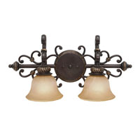 Golden Lighting Jefferson 2 Light Bath Fixture in Etruscan Bronze with Antique Marbled Glass 6029-BA2-EB