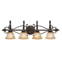 Golden Lighting Jefferson 4 Light Bath Fixture in Etruscan Bronze with Antique Marbled Glass 6029-BA4-EB