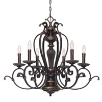 Golden Lighting Jefferson 6 Light Chandelier in Etruscan Bronze with Drip Candlesticks 6029-CN6-EB photo thumbnail