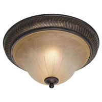Golden Lighting Jefferson 2 Light Flush Mount in Etruscan Bronze with Antique Marbled Glass 6029-FM-EB