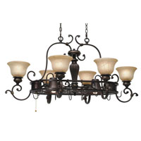 Golden Lighting Jefferson 8 Light Chandelier in Etruscan Bronze with Antique Marbled Glass 6029-PR62-EB