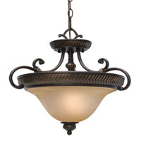 Golden Lighting Jefferson 3 Light Convertible Semi-Flush in Etruscan Bronze with Antique Marbled Glass 6029-SF-EB