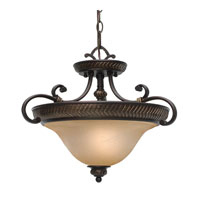 Jefferson 3 Light 20 inch Etruscan Bronze Semi-Flush Ceiling Light, Convertible