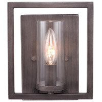 Golden Lighting Marco 1 Light Wall Sconce in Gunmetal Bronze with Clear Glass 6068-1W-GMT