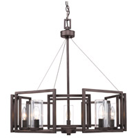 Golden Lighting Marco 5 Light Chandelier in Gunmetal Bronze with Clear Glass 6068-5-GMT