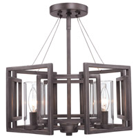 Golden Lighting Marco 4 Light Convertible Semi-Flush in Gunmetal Bronze with Clear Glass 6068-SF-GMT