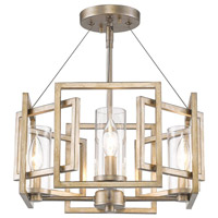 Marco 4 Light 16 inch White Gold Semi-Flush Ceiling Light, Convertible