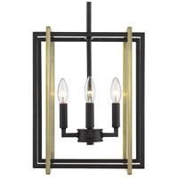 Golden Lighting 6070-4-BLK-AB Tribeca 4 Light 12 inch Black Mini Chandelier Ceiling Light
