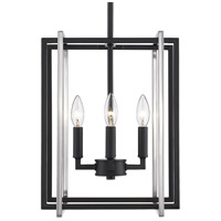 Golden Lighting 6070-4-BLK-PW Tribeca 4 Light 12 inch Black Mini Chandelier Ceiling Light