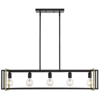 Golden Lighting 6070-LP-BLK-AB Tribeca 5 Light 41 inch Black Linear Pendant Ceiling Light