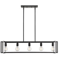 Golden Lighting 6070-LP-BLK-PW Tribeca 5 Light 41 inch Matte Black Linear Pendant Ceiling Light in Black with Pewter Accents
